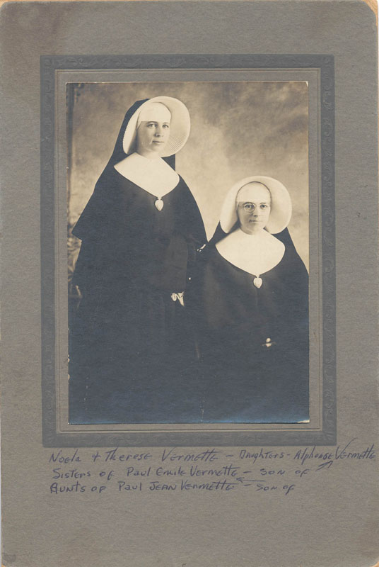 Sisters Noelle Vermette and Therese Vermette, daughters of Alphonse Vermette, Hermas, Quebec, Canada